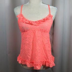 Victoria's Secret Orange Lacie Tank Top Size Large